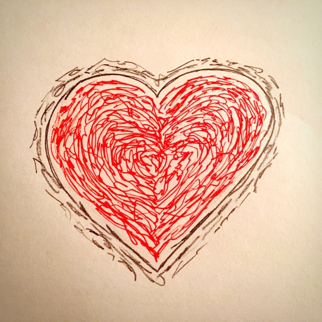 heart drawn with red ink and gray pencil